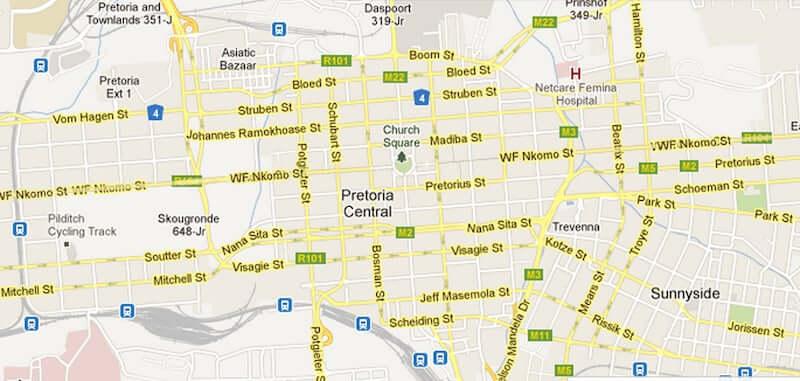 Onde Ficar em Pretória na África do Sul: Mapa