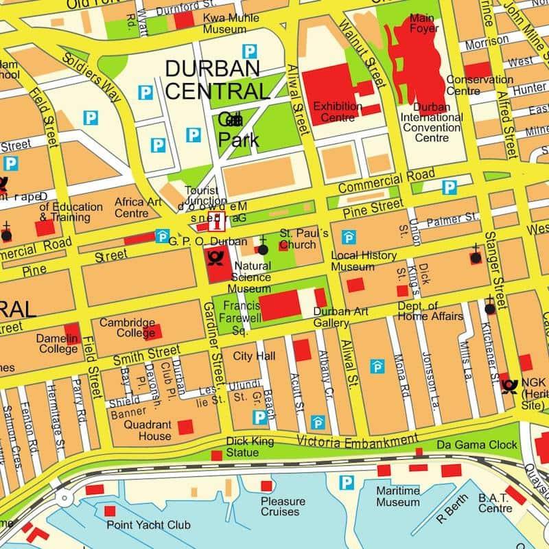 Onde Ficar em Durban na África do Sul: Mapa