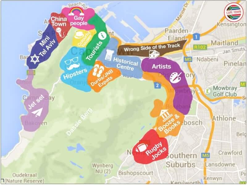 Onde Ficar na Cidade do Cabo na África do Sul: Mapa