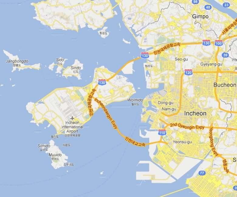 Onde Ficar em Incheon na Coréia do Sul: Mapa