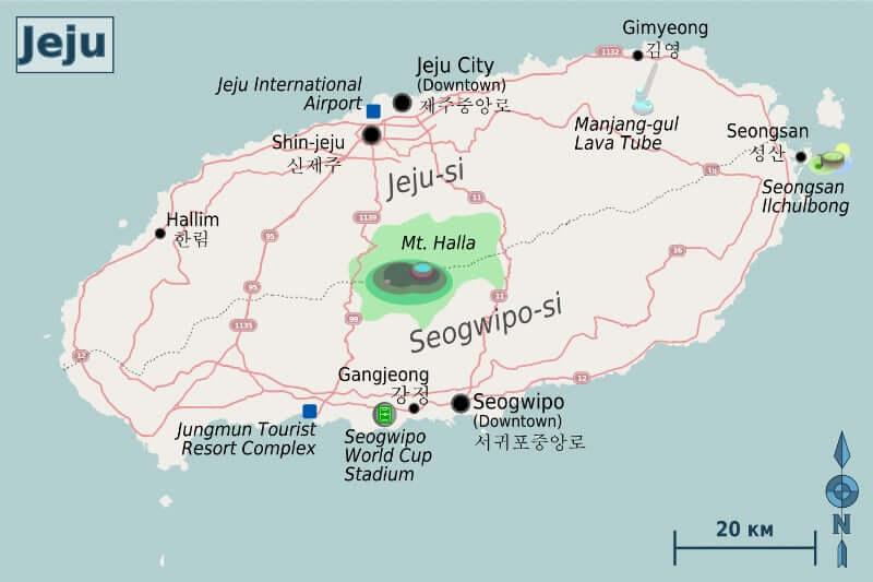 Onde Ficar em Ilha de Jeju na Coréia do Sul: Mapa