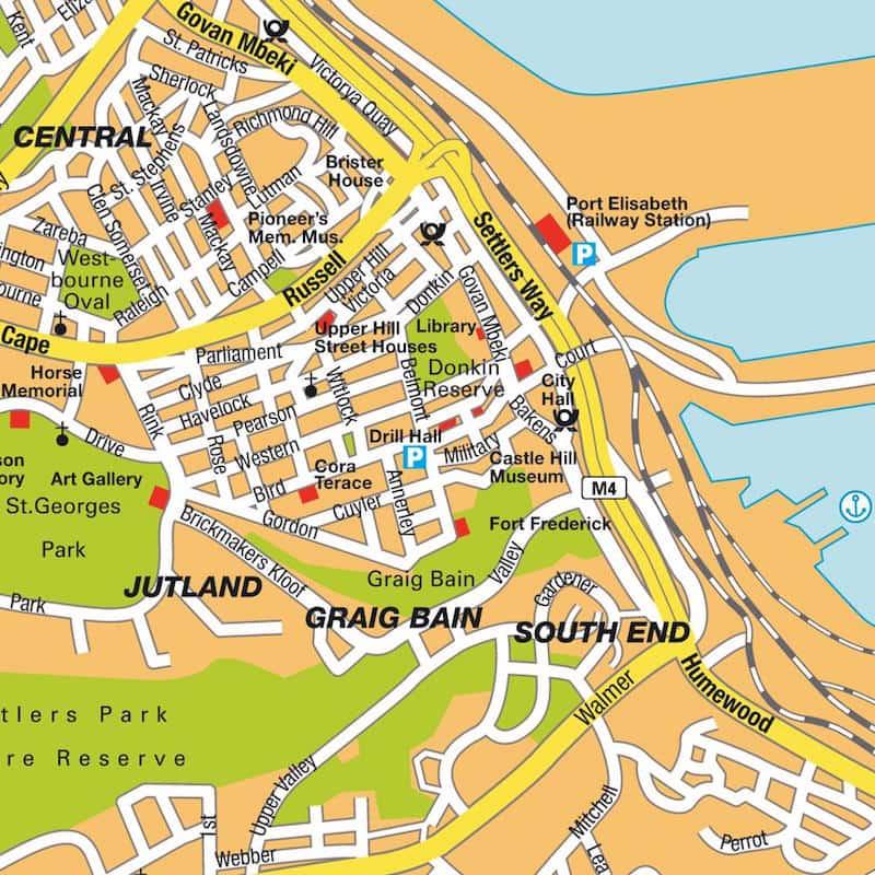 Onde Ficar em Porto Elizabeth na África do Sul: Mapa